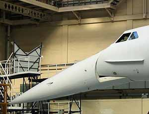 Concorde with nose lowered for take-off