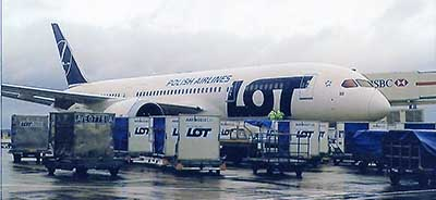 Boeing 787 Dreamliner loads with luggage