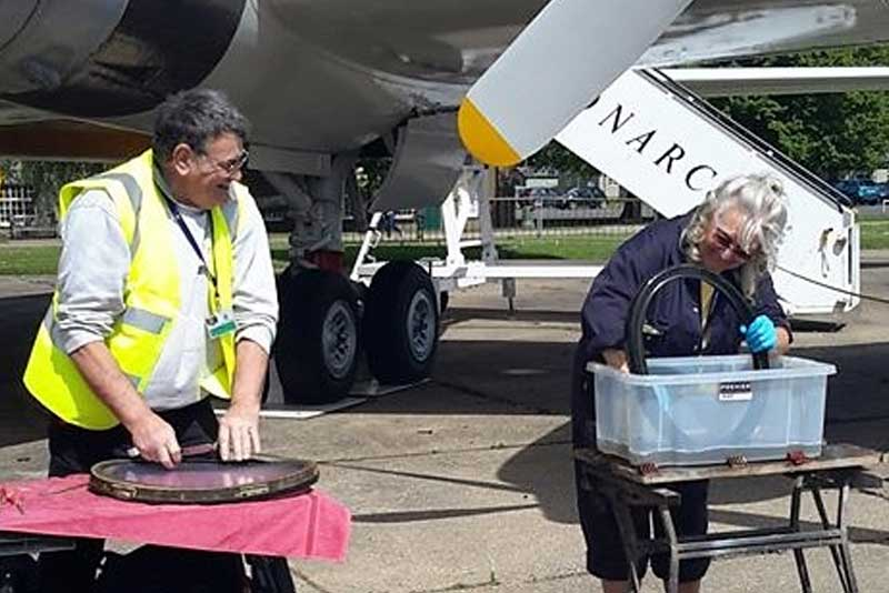Britannia G-AOVT Restoration Group at work