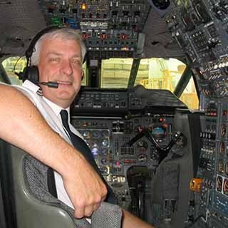 Trevor Evans in his office - the engineer's seat in Concorde